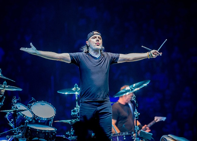 Lars Ulrich hams it up on stage with Metallica at PPG Paints Arena on Thu., Oct. 18. - CP PHOTO: MIKE PAPARIELLA