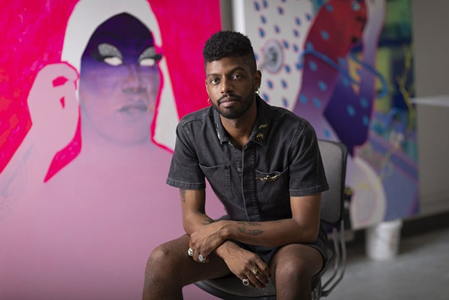 Artist Devan Shimoyama, shown with his artwork - JOSHUA FRANZOS