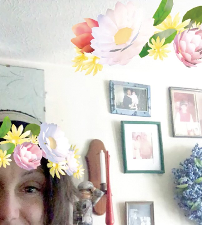 Flower crowns: A screenshot from Gab Bonesso's Snapchat - GAB BONESSO