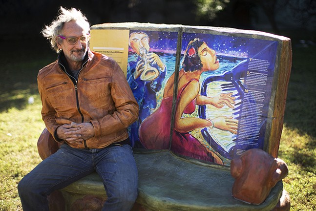 James Simon with his sculpture Book Art Bench. - CP PHOTO: JARED WICKERHAM