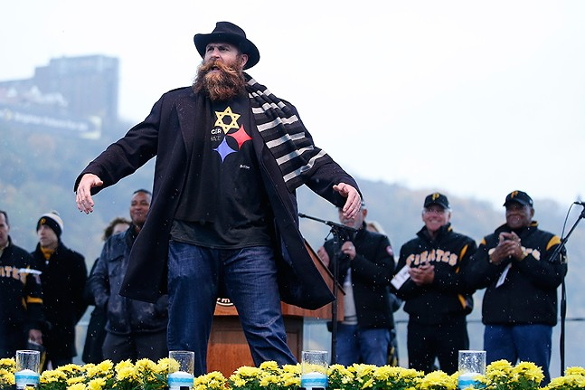 "Former Pittsburgh Steelers Brett Keisel at ""Stronger than Hate: A Gathering of Compassion, Unity and Love"" - CP PHOTO: JARED WICKERHAM"