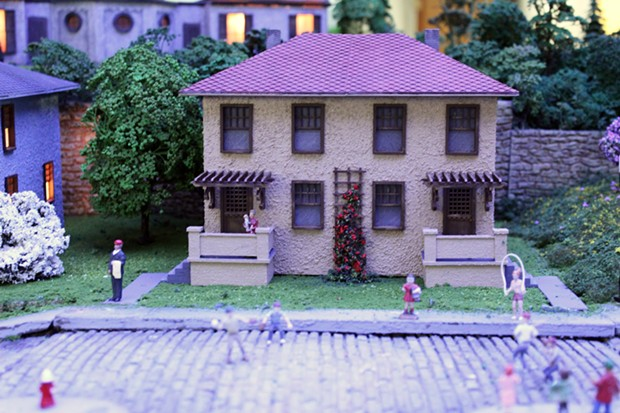 One of the completed Cement City model houses featured in the Railroad & Village - PHOTO: CARNEGIE SCIENCE CENTER