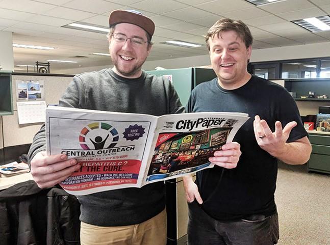 Pittsburgh City Paper managing editor Alex Gordon and digital media manager Josh Oswald - CP PHOTO