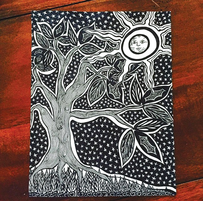 A meditative drawing by Art Therapist Ann Hines from Heal With Creativity