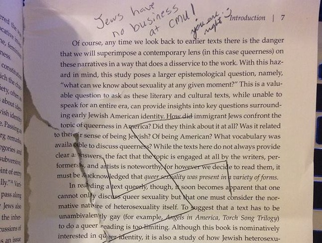 Anti-Semitic vandalism in book at CMU Hunt Library - PHOTO COURTESY OF ADIRA ROSEN
