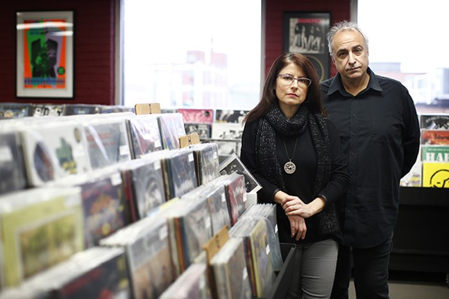 Gregg Kostelich and Barbara Garcia-Bernardo, owners of Get Hip Records, pose for a portrait inside their retail record store - cred: - CP PHOTO: JARED WICKERHAM