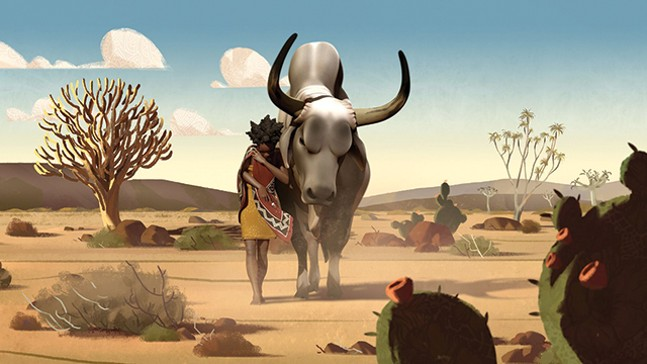 Liyana traverses the desert with her bull. - PHOTO: LIYANA
