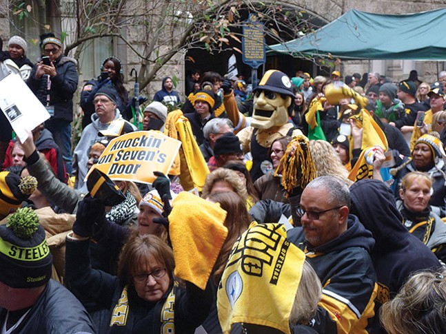 Steely McBeam and a bunch of fans who deserve a better mascot - CP PHOTO: KEVIN SHEPHERD