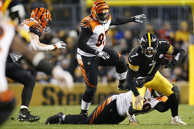 Ben Roethlisberger is sacked in the first half against the Bengals. - CP PHOTO: JARED WICKERHAM
