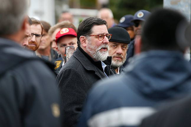 Bill Peduto at the Tree of Life Synagogue in Squirrel Hill on Oct. 27, 2018 - CP PHOTO: JARED WICKERHAM
