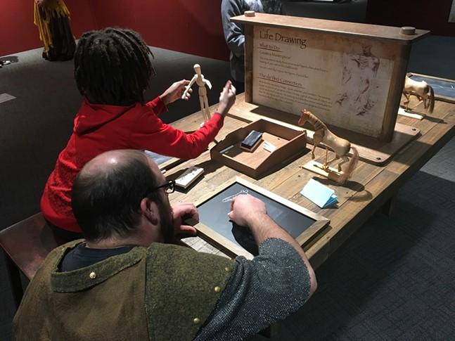 Life drawing station at Da Vinci The Exhibition - CP PHOTO: AMANDA WALTZ