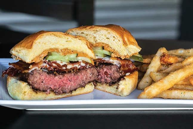 The Dirt Rag peanut butter burger at Over the Bar Bicycle Cafe - CP PHOTO: JARED WICKERHAM