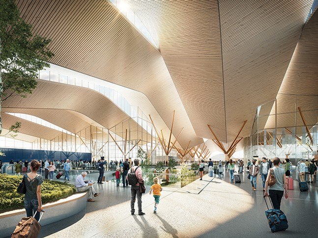 An artist's rendering of the transformed airport's departure area - PITTTRANSFORMED.COM