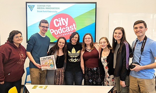 Pittsburgh comedian and CP contributing writer Gab Bonesso with students from Norwin and North Hills High Schools - CP PHOTO: LISA CUNNINGHAM