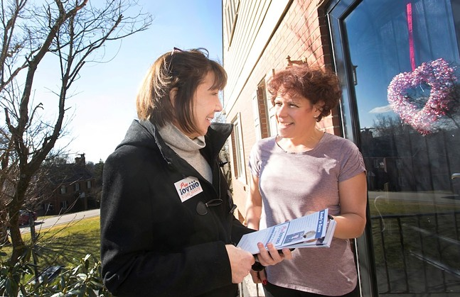Pam Iovino (left) talking with a voter before Election Day - PHOTO COURTESY THE CAMPAIGN