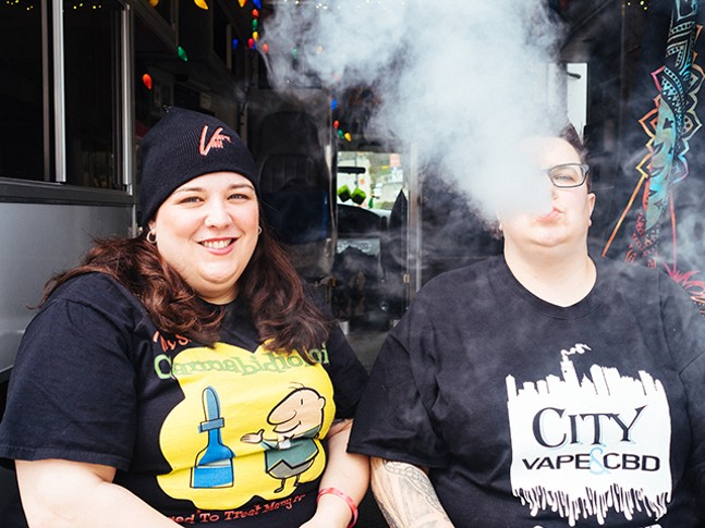 Lisa and Janel Gregory with The Vape Van - CP PHOTO: JARED MURPHY