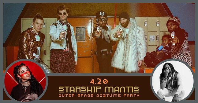 Flyer for Starship Mantis Outer Space Costume Party at Cattivo