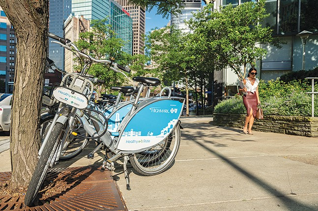 Healthy Ride bikes in Downtown Pittsburgh