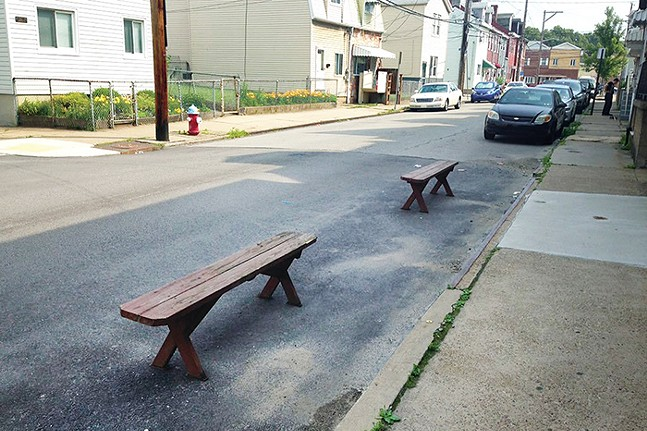 """Parking """"chairs"""" in Bloomfield - CP PHOTO: RYAN DETO"""
