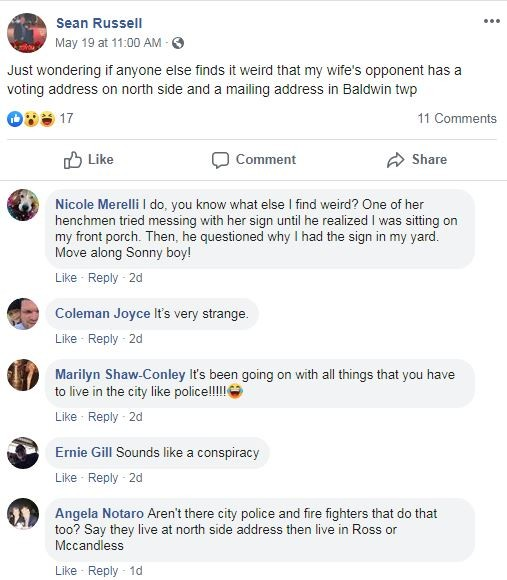 Sean Russell's Facebook post accusing Olivia Bennett - SCREENSHOT TAKEN FROM FACEBOOK