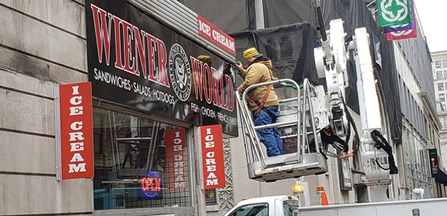 The new Wiener World sign being installed - CP PHOTO: JOSH OSWALD