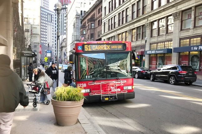 A Port Authority bus in Downtown Pittsburgh - CP PHOTO: RYAN DETO