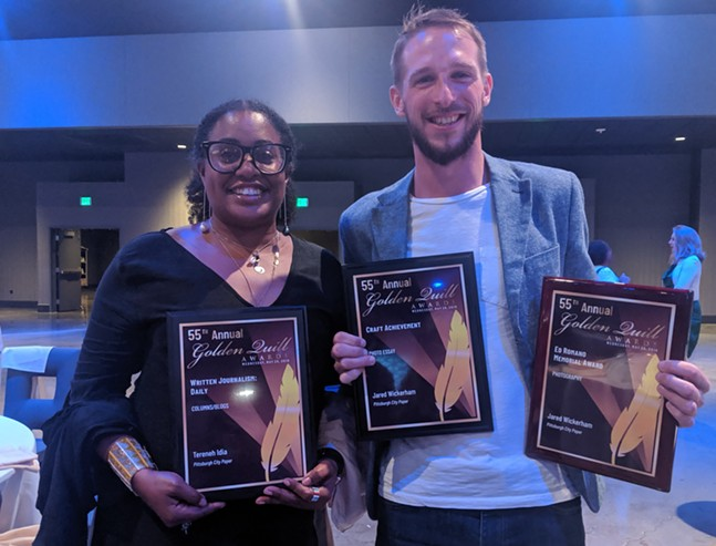 Pittsburgh City Paper 2019 Golden Quill award winners Tereneh Idia and Jared Wickerham - CP PHOTO: LISA CUNNINGHAM