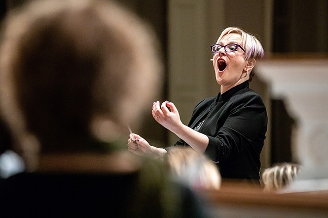 Maria Sensi Sellner conducts the Resonance Chamber Orchestra. - PHOTO: ALISA INNOCENTI