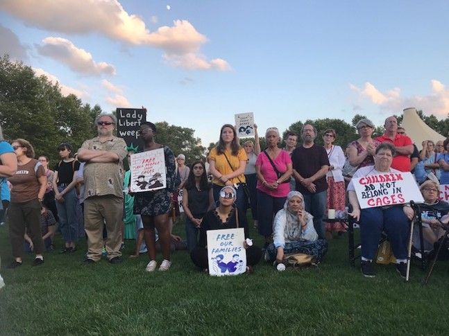 People gathering in Schenley Plaza for Lights For Liberty event - CP PHOTO: RYAN DETO