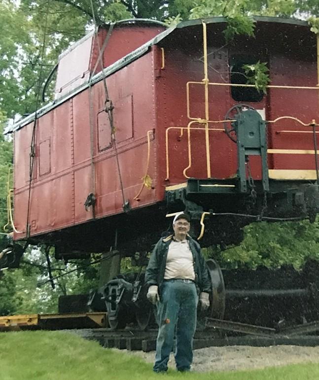 The late Bill Segar and caboose - PHOTO: BRETT SEGAR