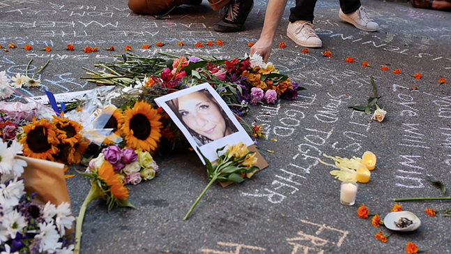 Screenshot of Heather Heyer memorial from We Are Here - PHOTO: CHRIS IVEY