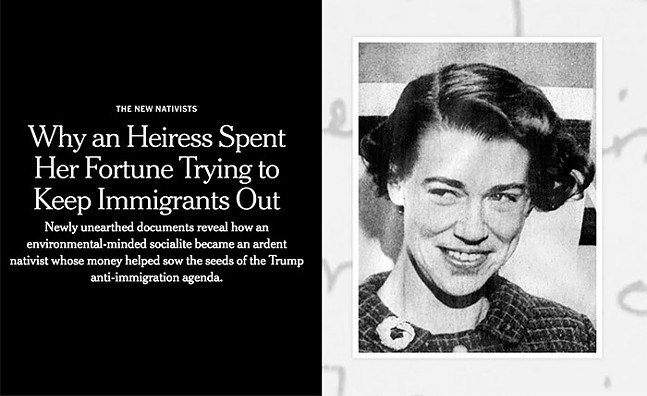 A screenshot of the New York Times report on Cordelia Scaife May