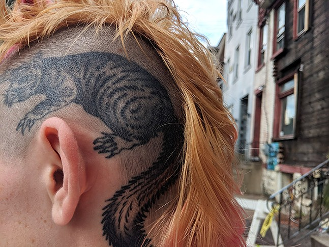 A squirrel tattooed on the side of Dig's head - CP PHOTO: LISA CUNNINGHAM