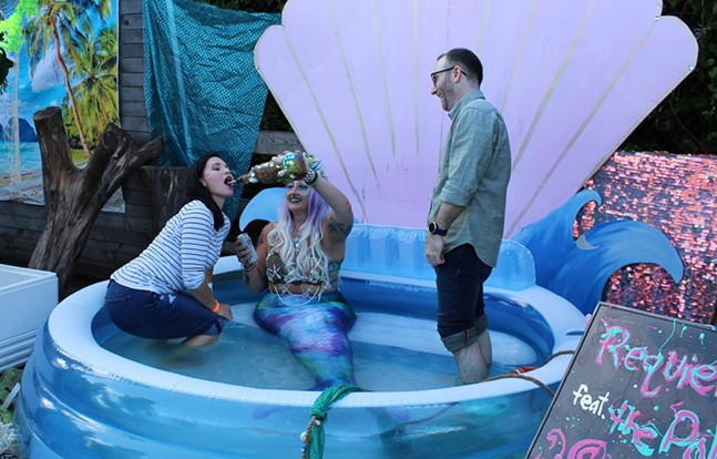 The Pittsburgh Mermaid gives out shots at Spirit Summer Recess - CP PHOTO: AMANDA WALTZ