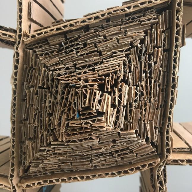 Sculpture made with corrugated cardboard - PHOTO: EMILY SCIULLI