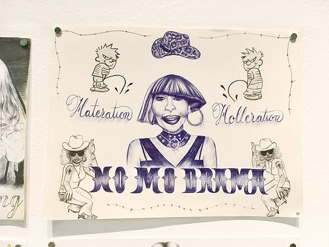 "Ally Orlando's ""No Mo Drama,"" pencil, ink, and paint on paper, 2019 - CP PHOTO: AMANDA WALTZ"