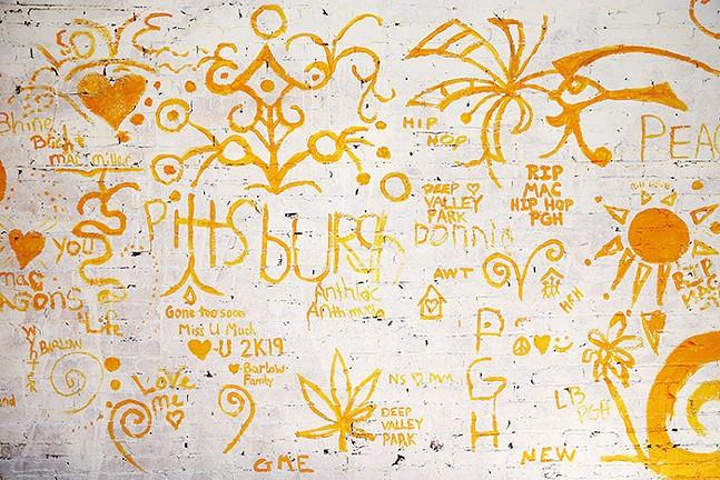The Mac Miller tribute mural in progress - CP PHOTO: JARED WICKERHAM