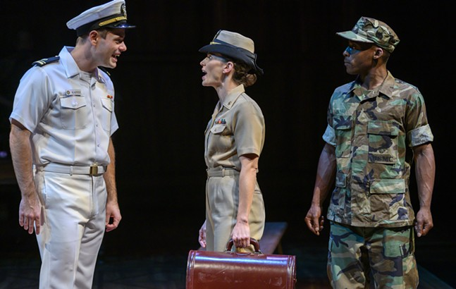 Doug Harris, Alison Weisgall, and Malic Williams in A Few Good Men - PHOTO: MICHAEL HENNINGER