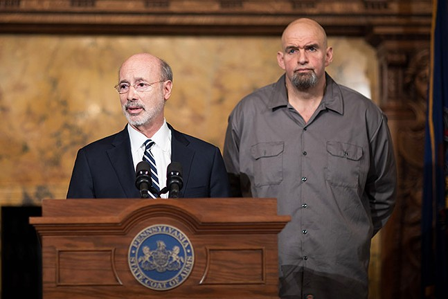 Tom Wolf (left) with John Fetterman - PHOTO: COURTESY OF GOVERNOR'S OFFICE
