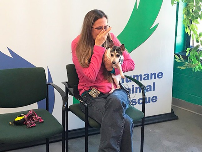 Dutchess reuniting with her owner Katheryn Strang - CP PHOTO: RYAN DETO