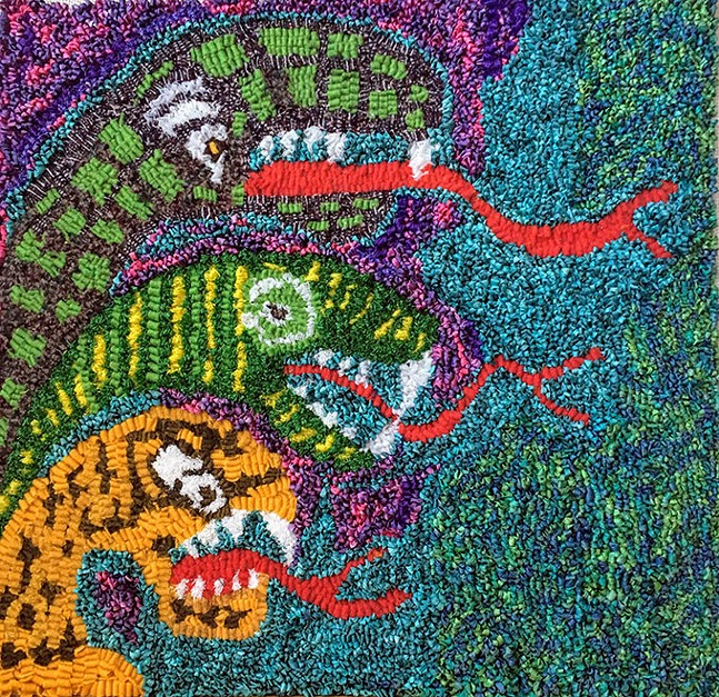 Three Headed Snake: hand-hooked rug made with hand-dyed wool, raffia, and recycled plastic netting from produce bags