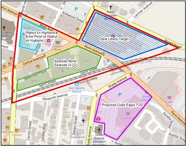 East Liberty study area showing Transit-Oriented Development - SCREENSHOT FROM REPORT