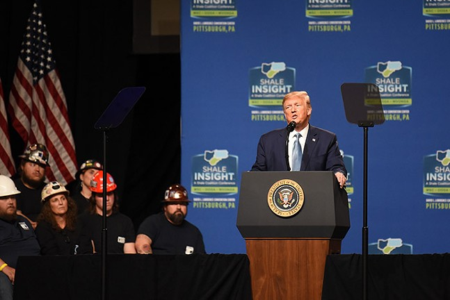 President Trump speaks during the Shake Insight conference at the David L. Lawrence Convention Center - PHOTO: SEBASTIAN FOLTZ, BUTLER EAGLE