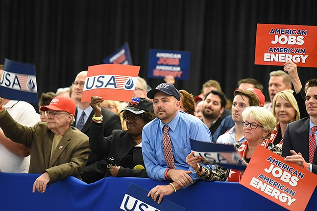 Supporters watch Trump speaking at the Shale Insight conference - PHOTO: SEBASTIAN FOLTZ, BUTLER EAGLE
