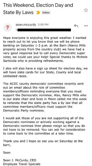 Oct. 24 email from Moon and Char Valley Democratic chair Sean McCurdy