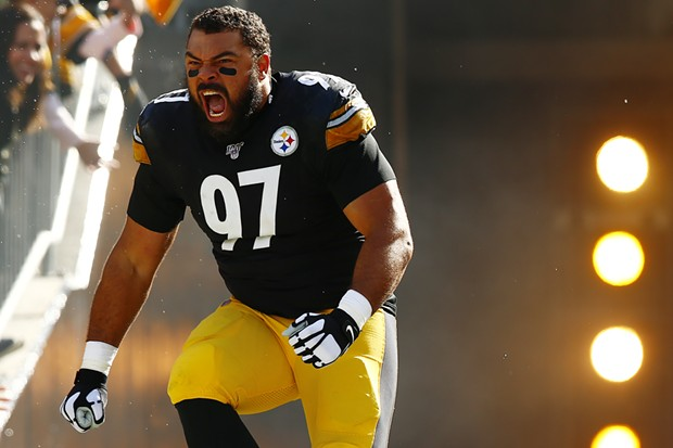 Cam Heyward is introduced prior to the game. - CP PHOTO: JARED WICKERHAM