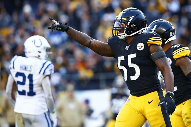 Devin Bush #55 of the Pittsburgh Steelers celebrates a defensive stop. - CP PHOTO: JARED WICKERHAM
