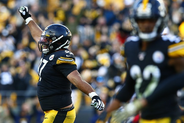 Cameron Heyward #97 of the Pittsburgh Steelers reacts following a missed field goal by Adam Vinatieri #4 of the Indianapolis Colts. - CP PHOTO: JARED WICKERHAM