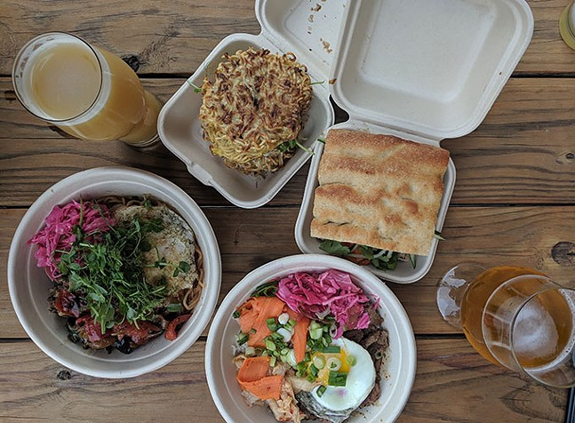 Clockwise from left: japchae, ramen burger, banh mi, and bibimbap from Blue Sparrow - CP PHOTO: MAGGIE WEAVER