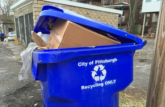 City of Pittsburgh blue recycling bin - CP PHOTO: AMANDA WALTZ